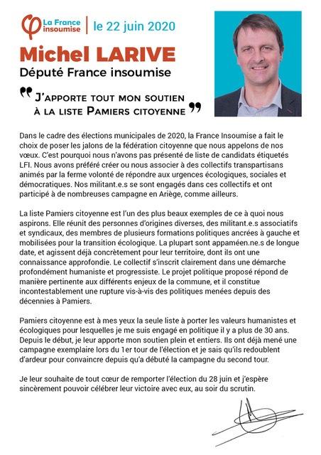 soutien du député Michel Larive